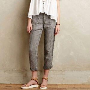 Anthropologie Hei Hei Marlena Linen Crop Pants 28